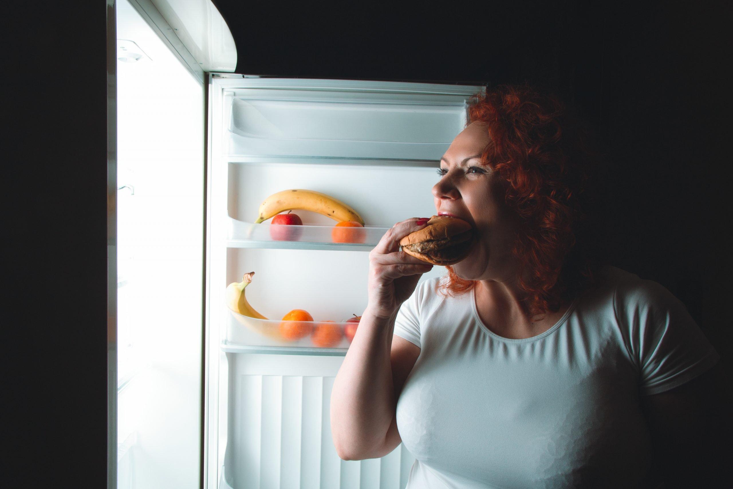 woman bingeing at night